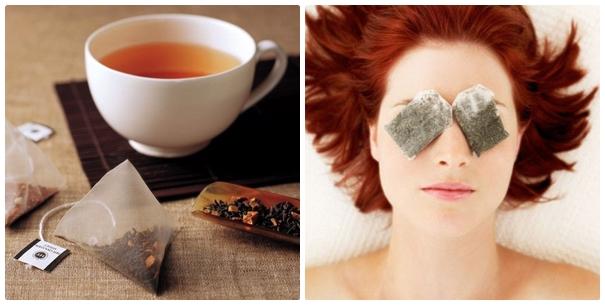 Cách làm giảm bọng mỡ mắt bằng túi trà