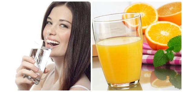 Bạn chú ý uống đầy đủ nước nên bổ sung nước cam hoặc đu đủ
