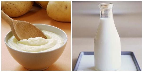 Kết hợp khoai tây và sữa  tươi là cách lí tưởng trị quầng thâm mắt
